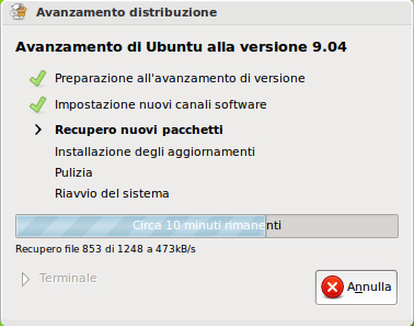 Aggiornamento ad Ubuntu 9.04