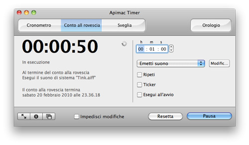 Interfaccia Apimac Timer