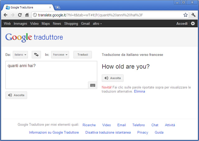 Google Translate ITA-FR FAIL