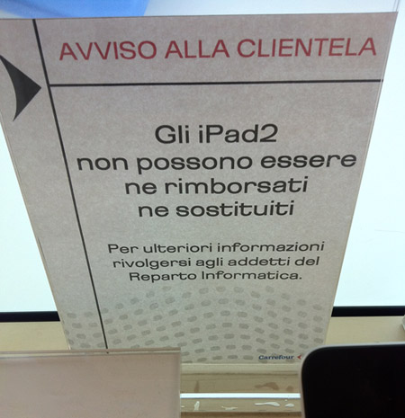 Carrefour e iPad2 - diritto di recesso negato