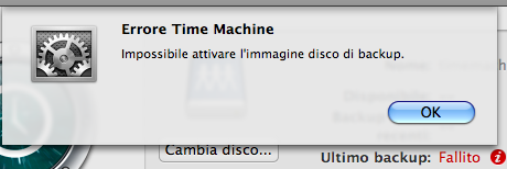 Time Machine - Backup volume error