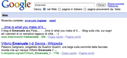 Emanuele - Google Search Rank