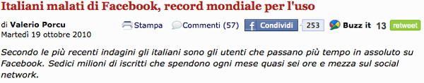 Italiani record su Facebook