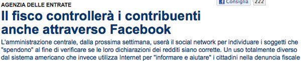 Faceboook e Fisco italiano